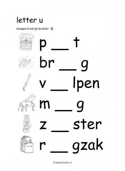 Letters leren lezen   letter u   werkbladen ~ Juf Milou