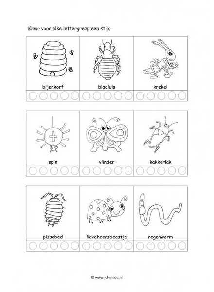 Fantasie Dieren Kleurplaten Werkbladen Taal Kriebelbeestjes Juf Milou