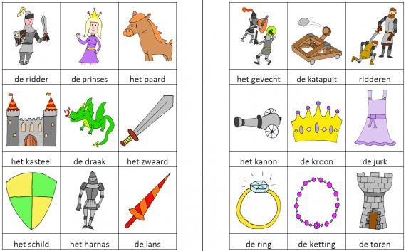 Kringactiviteit woordweb ridders en prinsessen juf milou for Werkbladen ridders en kastelen