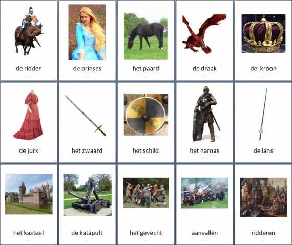 Themakaarten fantasie ridders en prinsessen juf milou for Werkbladen ridders en kastelen