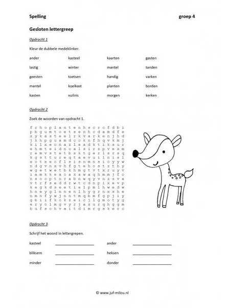 Werkbladen spelling lettergrepen juf milou for Werkbladen spelling groep 4