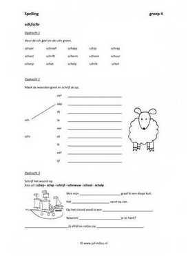 Werkbladen spelling sch en schr juf milou for Werkbladen spelling groep 4