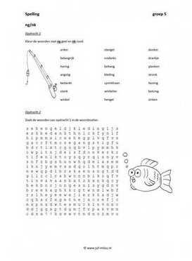 Werkbladen spelling ng en nk juf milou for Werkbladen spelling groep 4