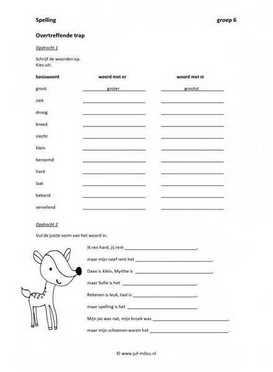 Werkbladen spelling overtreffende trap juf milou for Werkbladen spelling groep 4