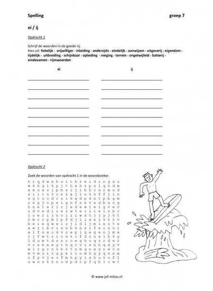 Werkbladen   spelling   ij en ei ~ Juf Milou